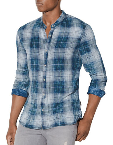 John Varvatos Star U.S.A. Plaid Snap-Front Cotton Shirt-BLUE-Medium