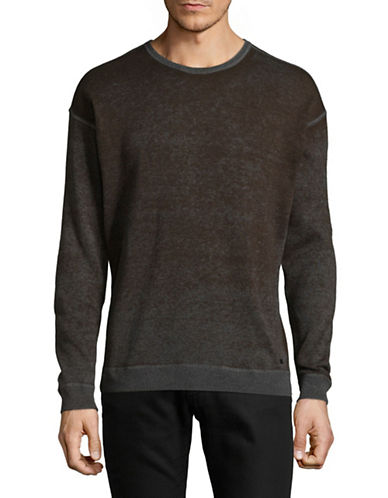 John Varvatos Star U.S.A. Crew Neck Cotton Pullover-BROWN-Large