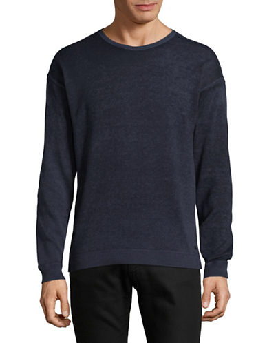 John Varvatos Star U.S.A. Crew Neck Cotton Pullover-BLUE-XX-Large