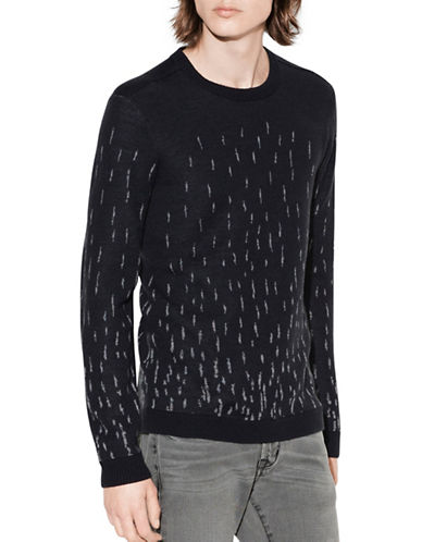 John Varvatos Star U.S.A. Degrade Jacquard Wool Sweater-GREY-Large