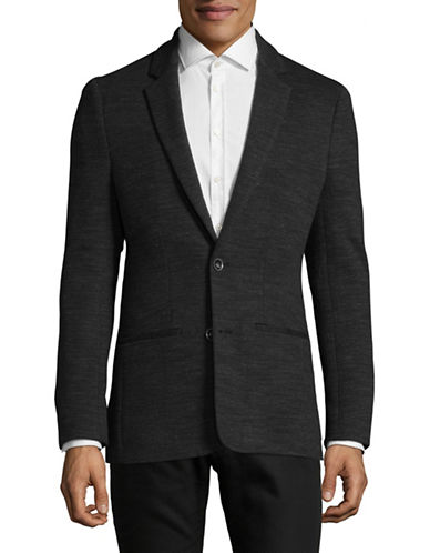 John Varvatos Star U.S.A. Heathered Cotton Suit Jacket-BLACK-XX-Large