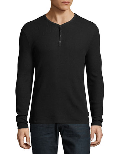 John Varvatos Star U.S.A. Snap Knit Henley-BLACK-Large