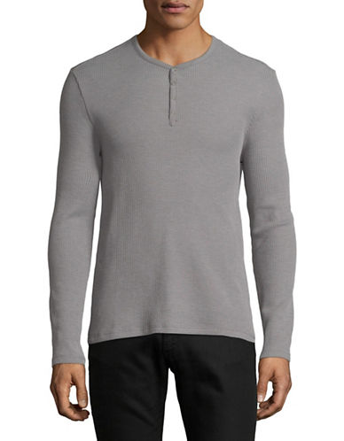 John Varvatos Star U.S.A. Snap Knit Henley-GREY-X-Large