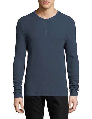 John Varvatos Star U.S.A. Snap Knit Henley-BLUE-Medium