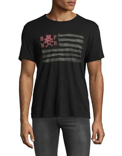 John Varvatos Star U.S.A. Flag Cotton Tee-BLACK-X-Small