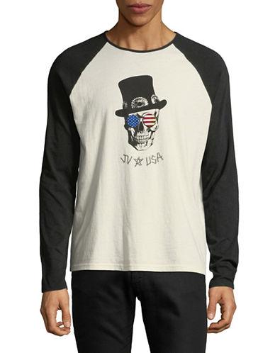 John Varvatos Star U.S.A. Skull Top Hat Cotton Tee-NATURAL-X-Small