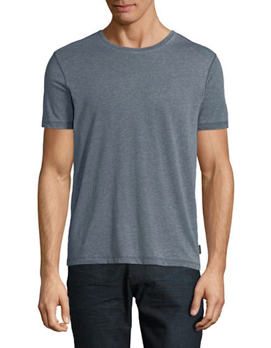 John Varvatos Star U.S.A. Burnout Knit Cotton Tee-INDIGO BLUE-Small