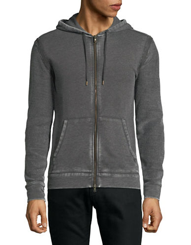 John Varvatos Star U.S.A. Distressed Zip Hoodie-GREY-X-Large
