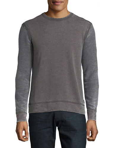 John Varvatos Star U.S.A. Crew Neck Burnout Sweater-GREY-Medium