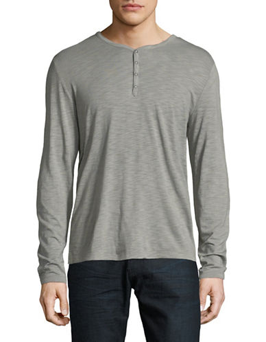 John Varvatos Star U.S.A. Snap Front Long-Sleeve Henley-SILVER-Small