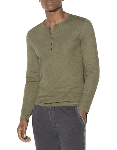John Varvatos Star U.S.A. Double Face Henley-GREEN-Medium