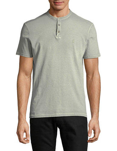 John Varvatos Star U.S.A. Embroidered Knit Cotton Henley-SILVER-X-Large