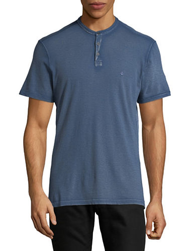John Varvatos Star U.S.A. Embroidered Knit Cotton Henley-BLUE-Medium