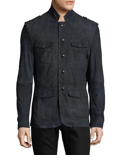 John Varvatos Star U.S.A. Suede Military Jacket-BLUE-Small