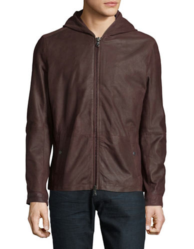 John Varvatos Star U.S.A. Zip-Front Leather Jacket-BROWN-Small