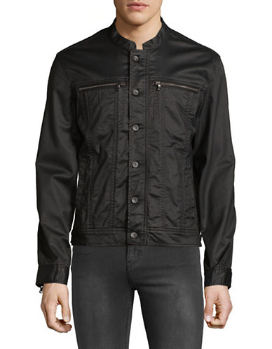 John Varvatos Star U.S.A. Zip and Shank Front Jacket-BLACK-Large