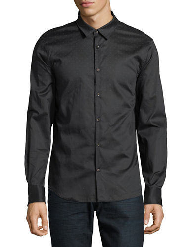 John Varvatos Star U.S.A. Mayfield Cotton Sport Shirt-BLACK-X-Large