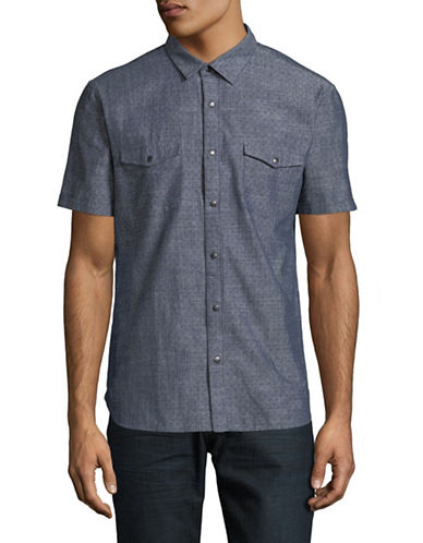 John Varvatos Star U.S.A. Classic Cotton Short Sleeve Sport Shirt-BLUE-Large