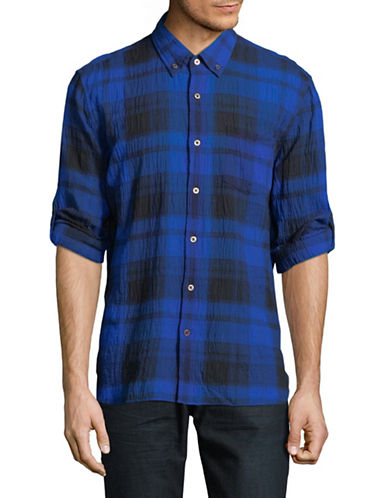 John Varvatos Star U.S.A. Mayfield Plaid Sport Shirt-BLUE-X-Large