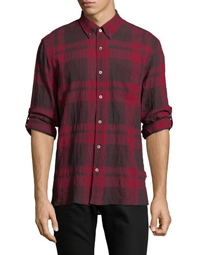 John Varvatos Star U.S.A. Mayfield Plaid Sport Shirt-PINK-Medium