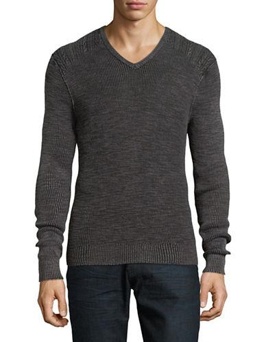 John Varvatos Star U.S.A. Cable-Knit Shoulder Sweater-GREY-Small