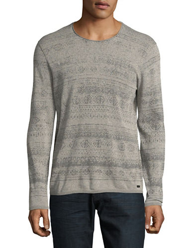 John Varvatos Star U.S.A. Fairisle Crew Neck Sweater-GREY-Large