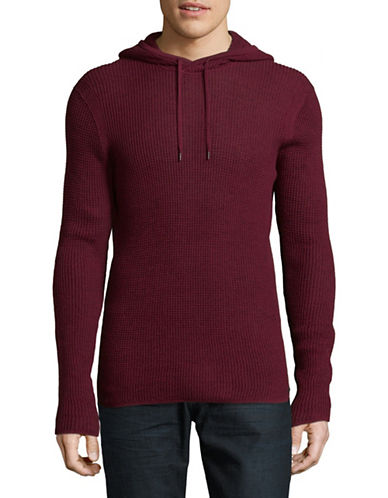 John Varvatos Star U.S.A. Thermal Stitch Pullover-WINE-Medium