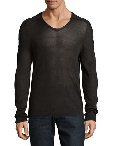 John Varvatos Star U.S.A. Plated V-Neck Sweater-BLACK-Large