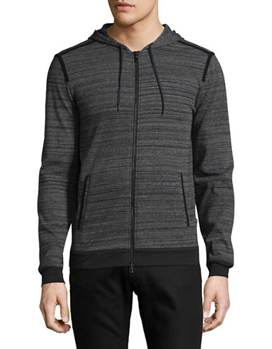 John Varvatos Star U.S.A. Zip Front Hoodie-GREY-Large