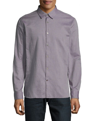 John Varvatos Star U.S.A. Mayfield Cotton Sport Shirt-PURPLE-Small