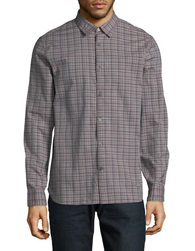 John Varvatos Star U.S.A. Mayfield Cotton Sport Shirt-PURPLE-Large