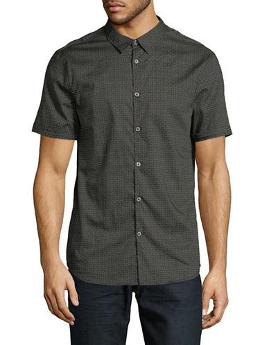 John Varvatos Star U.S.A. Slim-Fit Short Sleeve Cotton Sport Shirt-BLACK-X-Large