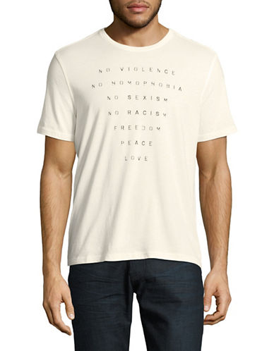 John Varvatos Star U.S.A. No Violence Graphic T-Shirt-NATURAL-Small