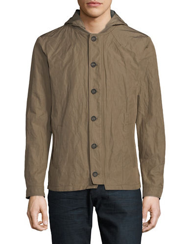 John Varvatos Star U.S.A. Hooded Button-Through Jacket-GREEN-Small
