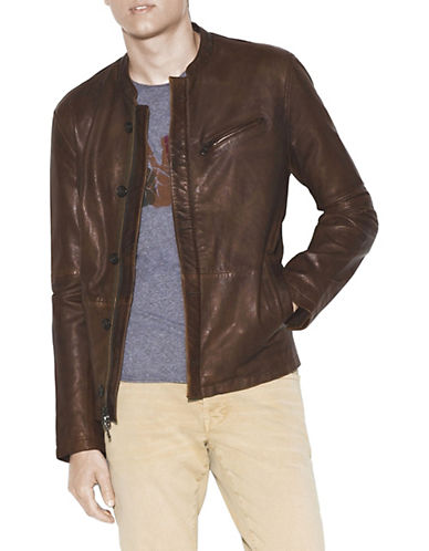 John Varvatos Star U.S.A. Tape Button Leather Jacket-BROWN-X-Large 90036612_BROWN_X-Large