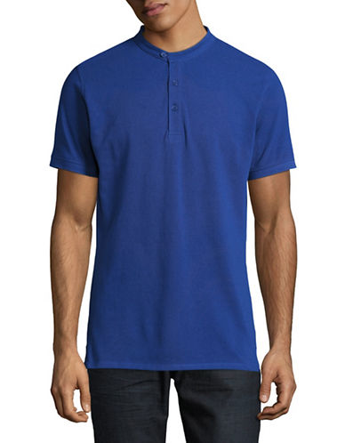 Highline Collective Banded Collar Polo-MEDIUM BLUE-Large