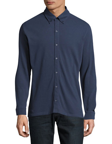 Highline Collective Knit Button-Down Shirt-BLUE-X-Large