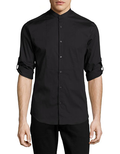Highline Collective Band Collar with Roll-Up Sleeve Sport Shirt-BLACK-Medium