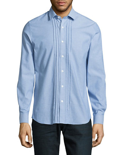 Highline Collective Pleated Front Chambray Shirt-BLUE-XX-Large