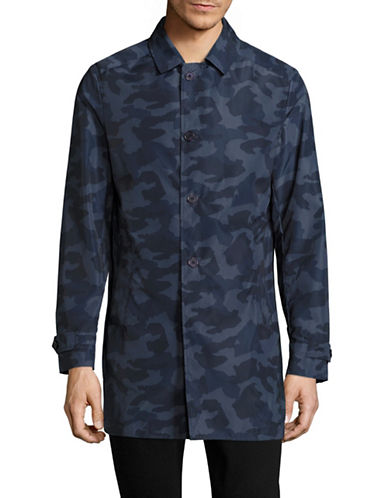 Highline Collective Camouflage Print Trench Coat-BLUE-Large