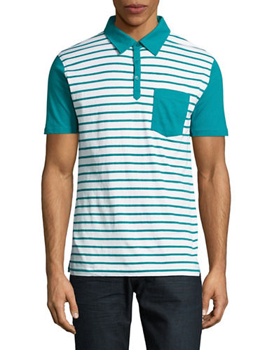 Highline Collective Striped Fancy Polo-WHITE-Small