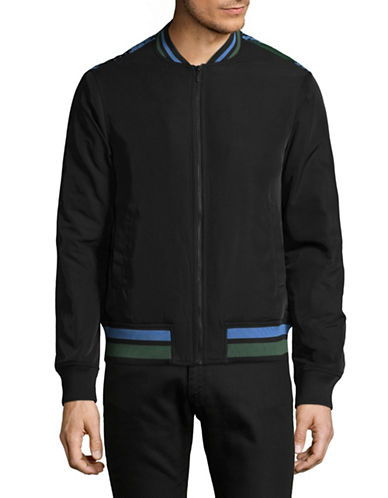 Highline Collective Palm Print Quilted Bomber Jacket-BLACK-Small 89184621_BLACK_Small