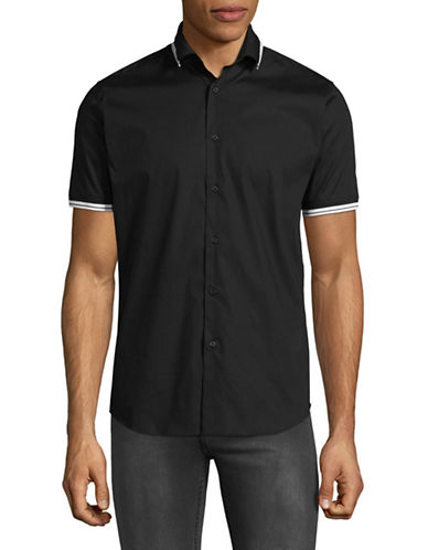 Highline Collective Ribbed Collar Sport Shirt-BLACK-Large