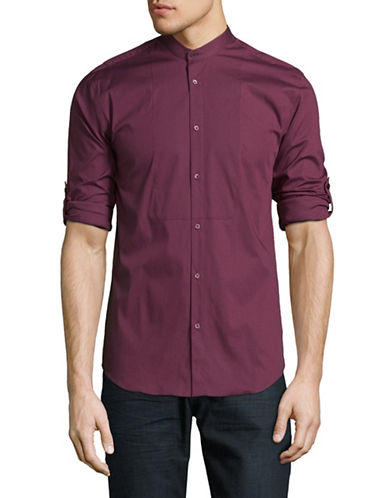 Highline Collective Band Collar with Roll-Up Sleeve Sport Shirt-PURPLE-XX-Large
