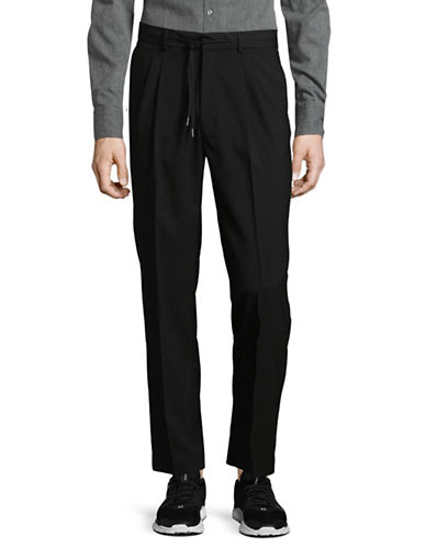 Highline Collective Pleated Drawstring Pants-BLACK-XX-Large