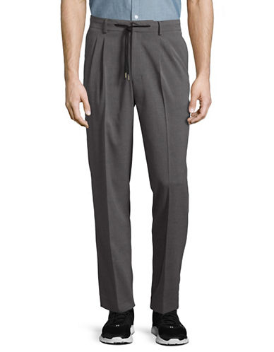 Highline Collective Pleated Drawstring Pants-GREY-Small