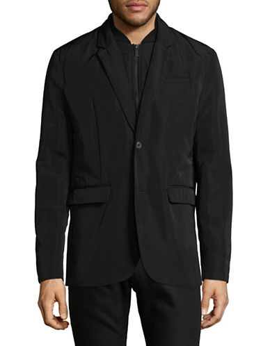 H Halston Detachable Notched Lapel Blazer-BLACK-Large