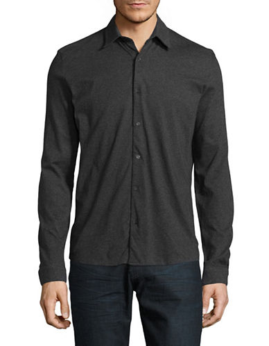 H Halston Jersey Cotton Sport shirt-GREY-Small