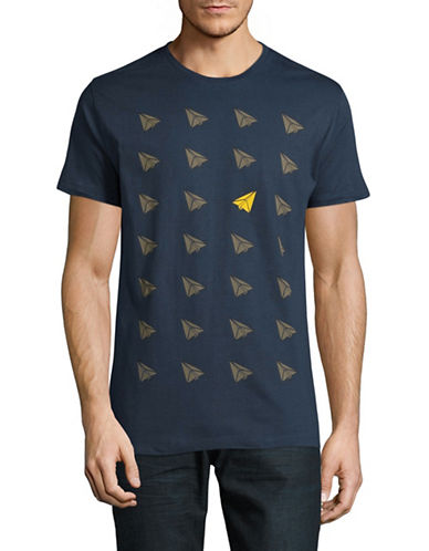 Highline Collective Paper Airplane Graphic T-Shirt-BLUE-Small
