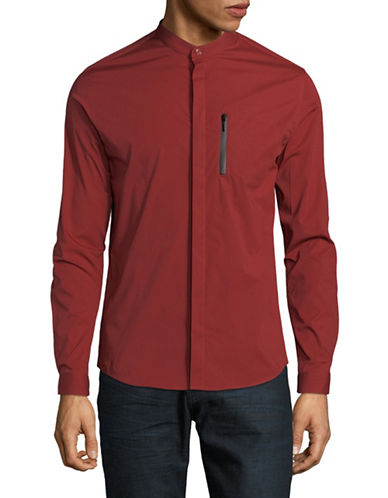 Highline Collective Band Collar Sportshirt-RED-Large